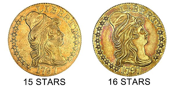 1797 15 Stars vs 16 Stars - Large Eagle - $5 Turban Head Gold Half Eagle - Difference and Comparison