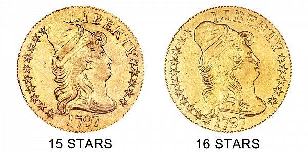 1797 15 Stars vs 16 Stars - Small Eagle - $5 Turban Head Gold Half Eagle - Difference and Comparison