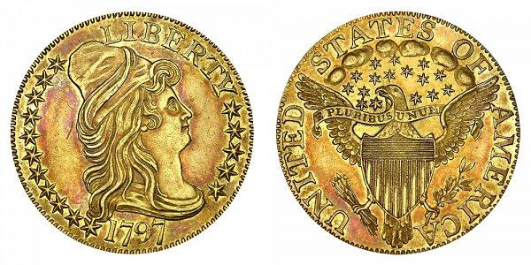 1797 16 Stars Large Eagle - Turban Head $5 Gold Half Eagle - Five Dollars