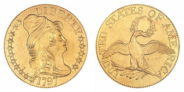 1797 16 Stars Small Eagle - Turban Head Gold Half Eagle - Five Dollars