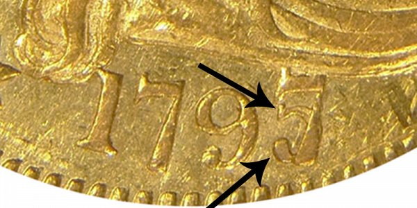 1797/5 Large Eagle - Turban Head Gold Half Eagle - 7 Over 5 Overdate - Closeup Example Image