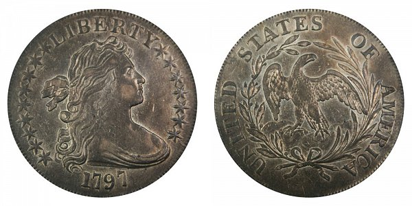 1797 Draped Bust Silver Dollar - 9 Stars Left - 7 Stars Right - Large Letters