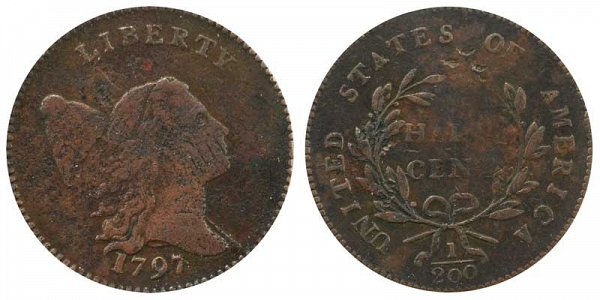 1797 Liberty cap Half Cent Penny - Low Head - Plain Edge