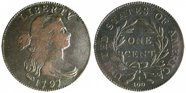 1797 Draped Bust Large Cent Penny - Reverse of 1795 - Gripped Edge