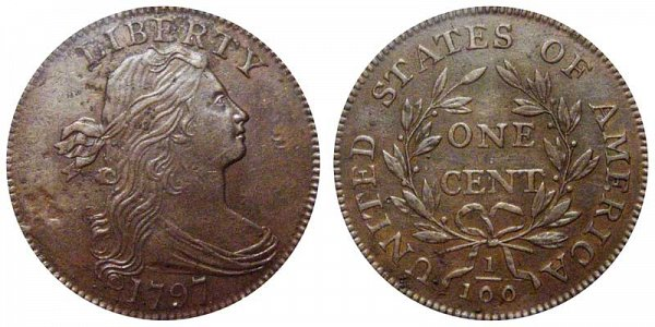 1797 Draped Bust Large Cent Penny - Reverse of 1797 - With Stems