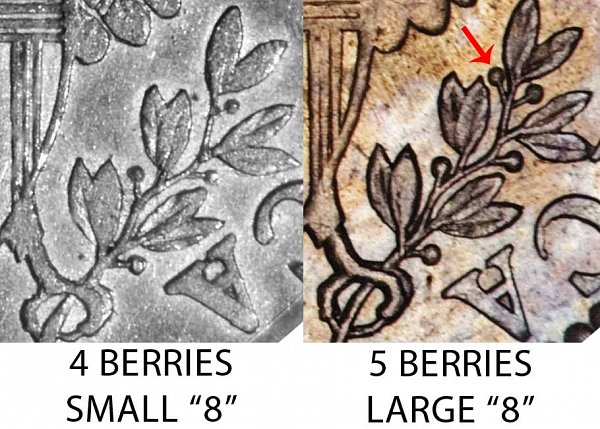 1798 4 Berries vs 5 Berries Draped Bust Dime - Difference and Comparison