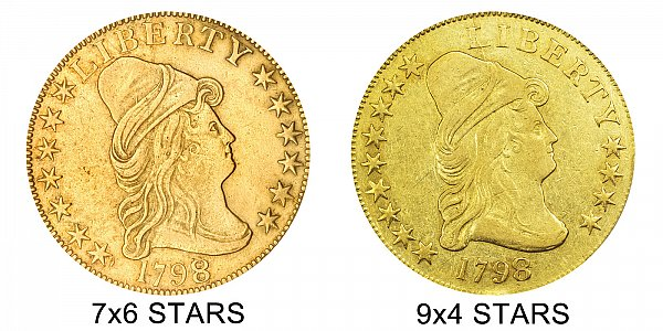1798/7 9x4 Stars vs 7x6 Stars - $10 Turban Head Gold Eagle - Difference and Comparison