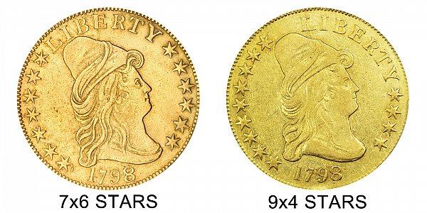1798/7 9x4 Stars vs 7x6 Stars - $10 Turban Head Gold Eagle - Difference and Comparison