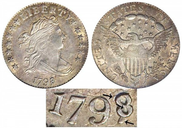 1798/7 Draped Bust Dime - 13 Stars - 8 Over 7
