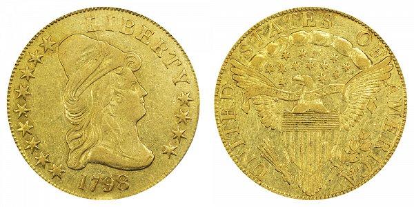 1798/7 9x4 Stars - Turban Head $10 Gold Eagle - Ten Dollars