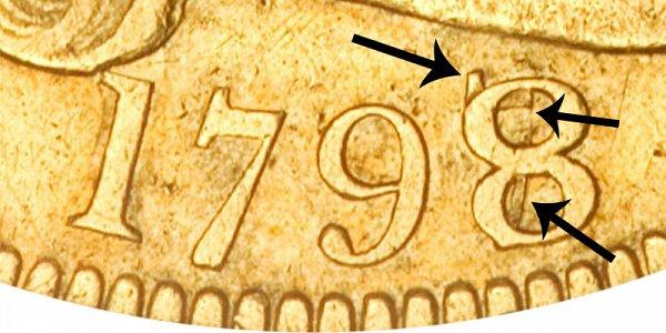 1798/7  Turban Head Gold Eagle - 8 Over 7 Overdate - Closeup Example Image