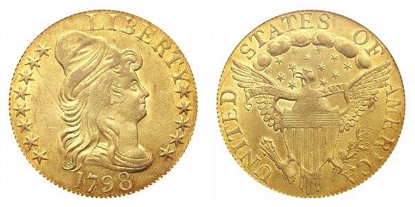 1798 Large 8 - 13 Stars - Turban Head $5 Gold Half Eagle - Five Dollars