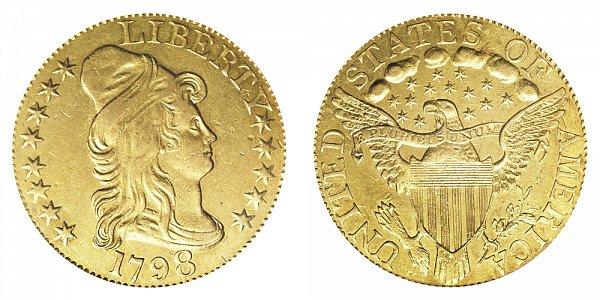 1798 Large 8 - 14 Stars - Turban Head $5 Gold Half Eagle - Five Dollars