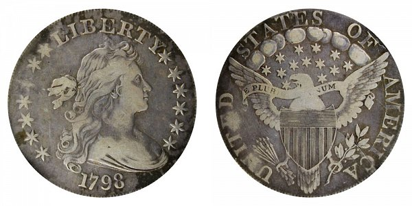 1798 Draped Bust Silver Dollar - Pointed 9 - 4 Berries