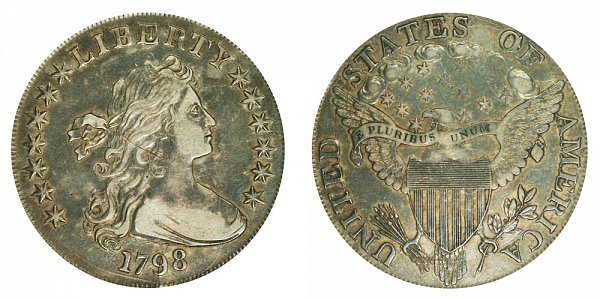 1798 Draped Bust Silver Dollar - Pointed 9 - Close Date - High 8