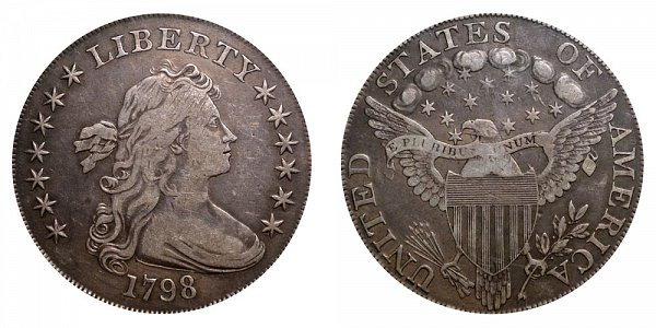 1798 Draped Bust Silver Dollar - Pointed 9 - Close Date - Normal 8