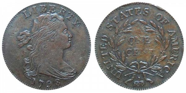1798 Draped Bust Large Cent Penny - Reverse of 1795