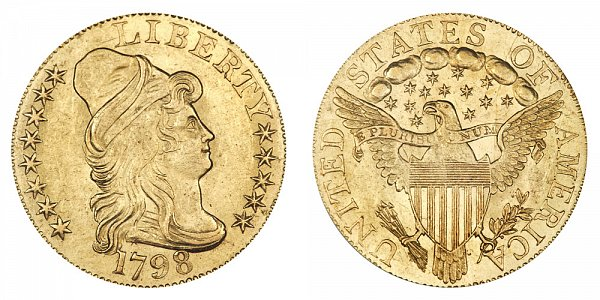 1798 Small 8 - Turban Head $5 Gold Half Eagle - Five Dollars