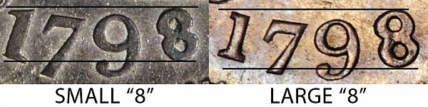 1798 Small 8 vs Large 8 Draped Bust Dime - Difference and Comparison