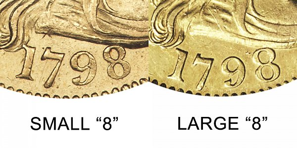 1798 Small 8 vs Large 8 - $5 Turban Head Gold Half Eagle - Difference and Comparison