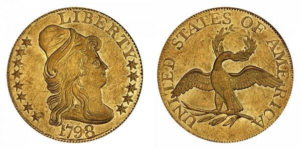 1798 Small Eagle - Turban Head $5 Gold Half Eagle - Five Dollars