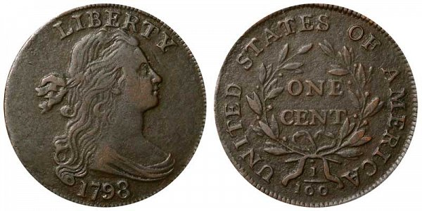 1798 Draped Bust Large Cent Penny - Style 1 Hair