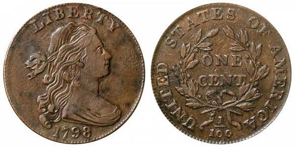 1798 Draped Bust Large Cent Penny - Style 2 Hair