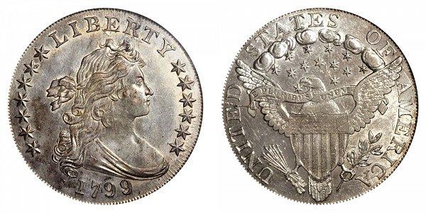 1799/8 Draped Bust Silver Dollar - 9 Over 8 Overdate - 13 Stars Reverse