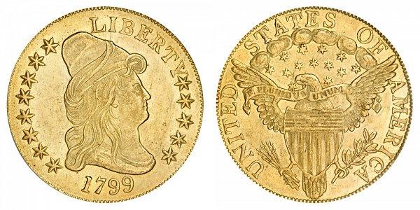 1799 Small Stars - Turban Head $10 Gold Eagle - Ten Dollars
