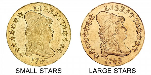 1799 Small Stars vs Large Stars - $10 Turban Head Gold Eagle - Difference and Comparison