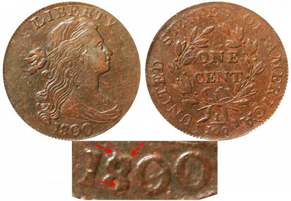 1800 Draped Bust Large Cent Penny - 1800 Over 1798 Style 1 Hair