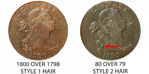 1800 Draped Bust Large Cent - Style 1 Hair vs Style 2 Hair - Difference and Comparison