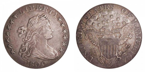 1800 Draped Bust Silver Dollar - Wide Date - Low 8
