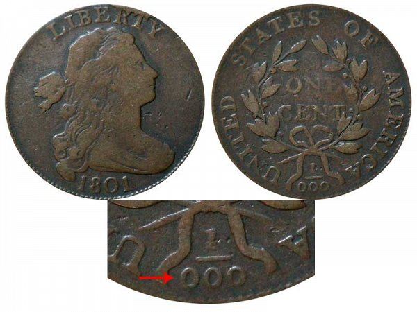 1801 Draped Bust Large Cent Penny - Fraction 1/000