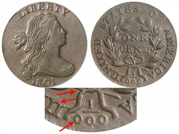 1801 Draped Bust Large Cent - 3 Errors example