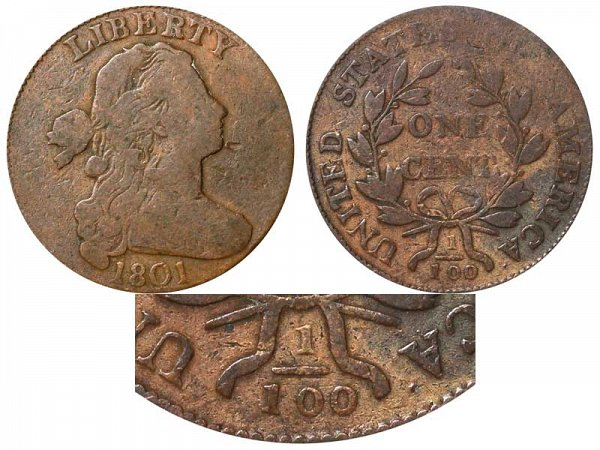 1801 Draped Bust Large Cent Penny - Varieties and Errors