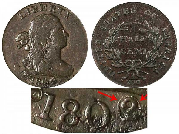 1802/0 Draped Bust Half Cent Penny - Reverse of 1800 - 2 Over 0