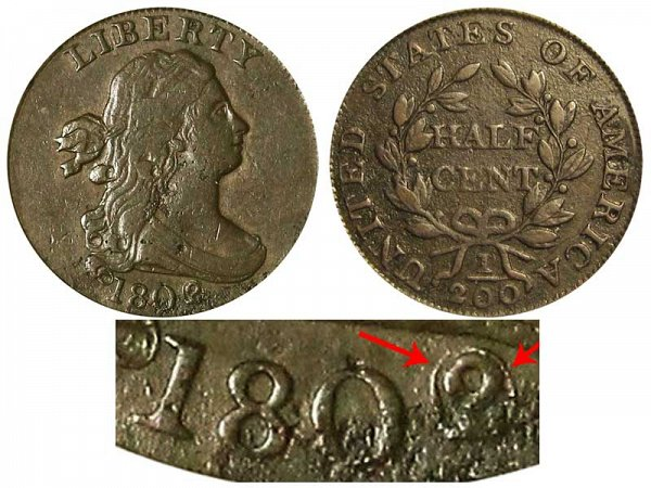 1802/0 Draped Bust Half Cent Penny - Reverse of 1802 - 2 Over 0