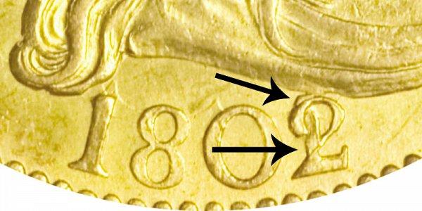 1802/1 Small Eagle - Turban Head Gold Half Eagle - 2 Over 1 Overdate - Closeup Example Image
