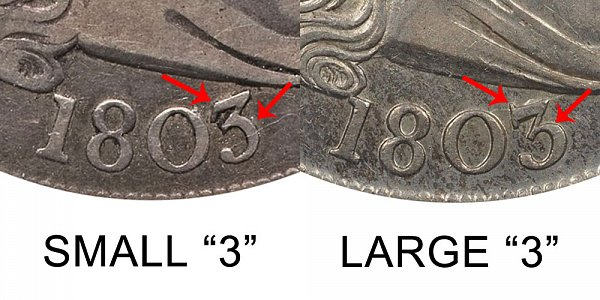 1803 Small 3 vs Large 3 Draped Bust Half Dollar Varieties - Difference and Comparison