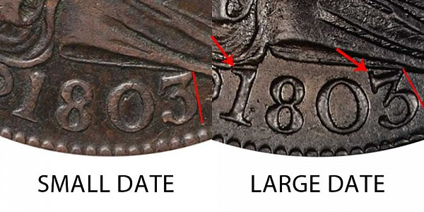 1803 Draped Bust Large Cent - Small Date vs Large Date - Difference and Comparison