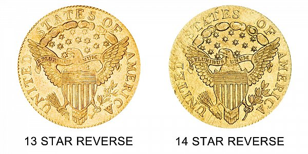 1804 13 Stars vs 14 Stars Reverse - Turban Head $2.50 Gold Quarter Eagle