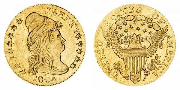 1804 Turban Head $2.50 Gold Quarter Eagle - 14 Star Reverse - 2 1/2 Dollars