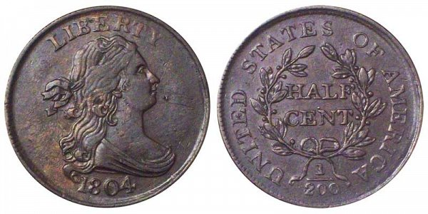 1804 Draped Bust Half Cent Penny - Crosslet 4 - No Stems (Stemless)