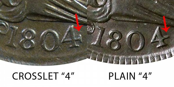 1804 Crosslet 4 vs Plain 4 Draped Bust Half Cent - Difference and Comparison