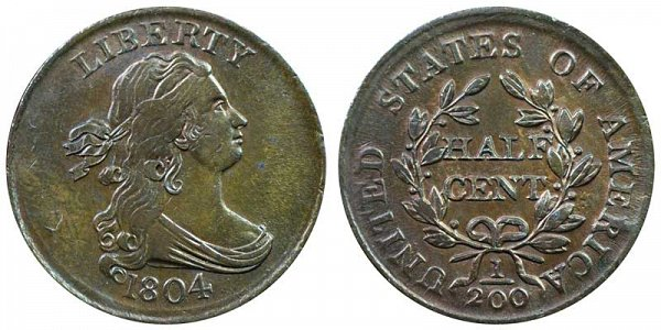 1804 Draped Bust Half Cent Penny - Crosslet 4 - With Stems