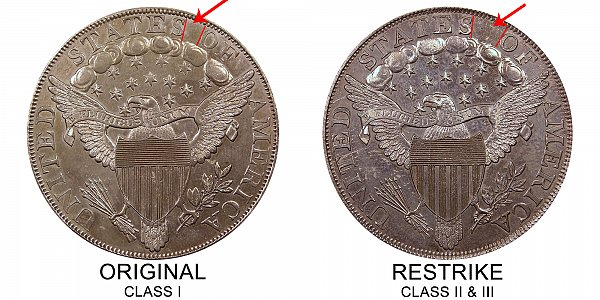1804 Draped Bust Silver Dollar Varieties - Difference and Comparison