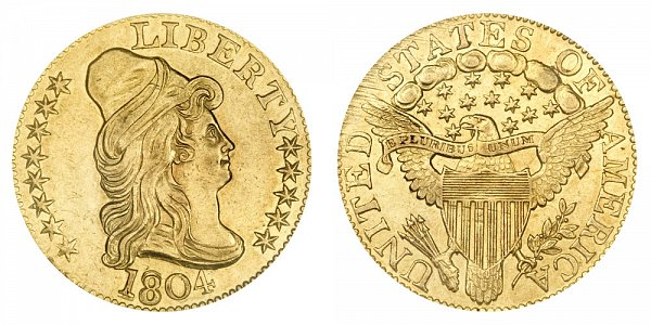 1804 Small 8 Over Large 8 - Turban Head $5 Gold Half Eagle - Five Dollars