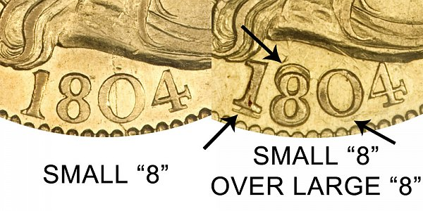 1804 Small 8 Vs Small 8 Over Large 8 - $5 Turban Head Gold Half Eagle - Difference and Comparison