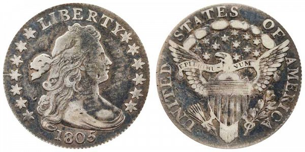 1805 Draped Bust Dime - 4 Berries